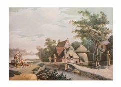Unbekannter Künstler (20. Jh.) Landschaft mit bäuerlicher Szenerie, Öl auf Hartfaserplatte, 139 cm x