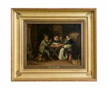 Johann Adalbert Heine (1850 - ?, war tätig in München) Beim Klosterbruder, Öl auf Holz, 24,5 cm x
