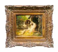 Clara von Wille (1838 Düsseldorf - 1883 ebenda) Liegender Hund mit Halsband, Öl auf Leinwand, 18