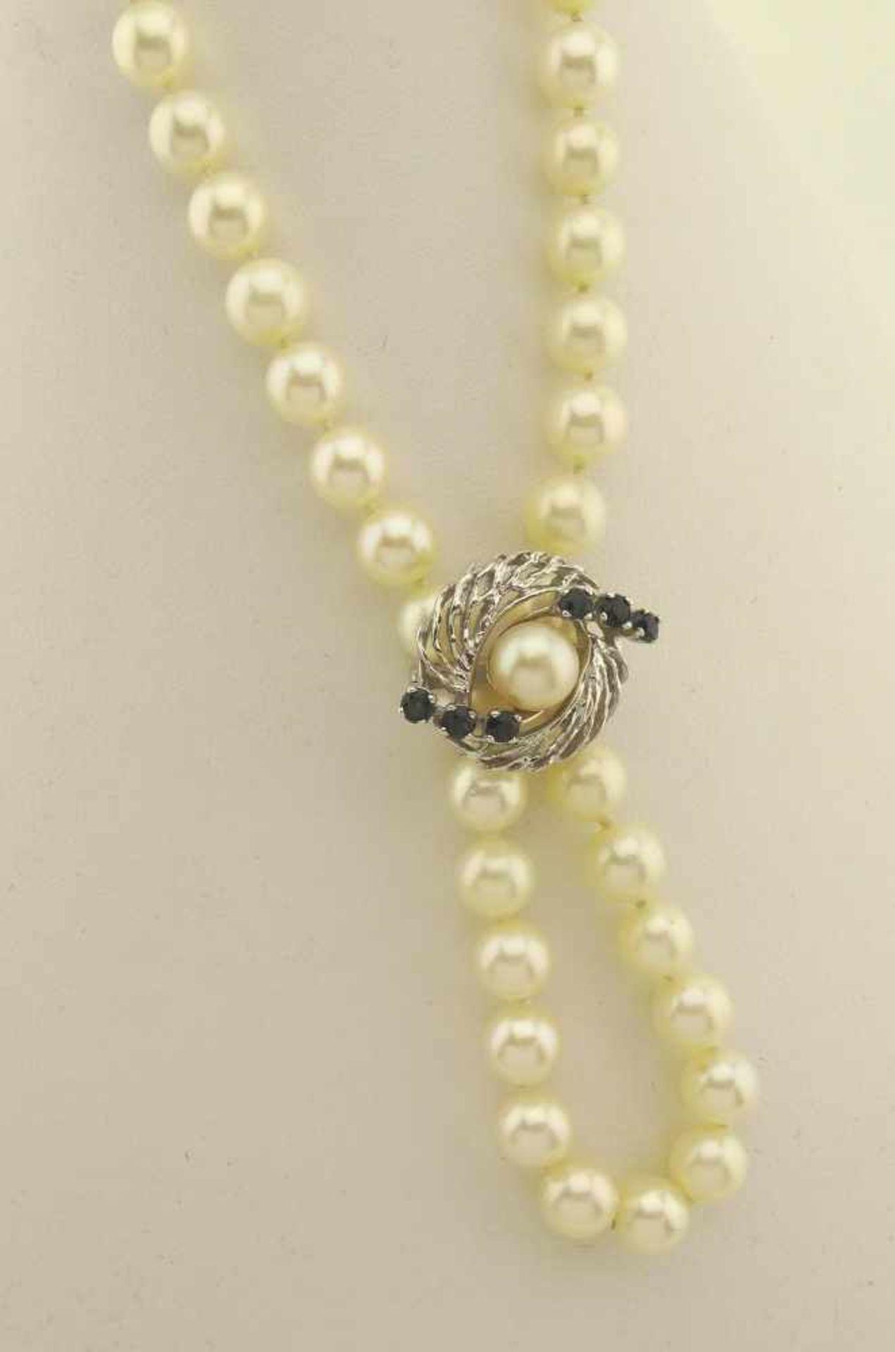 Los 16 - Akoya Perlenkette endlos ca. 90 cm, 7mm Durchmesser der Akoyperlen, weißes Lüster, mit 585
