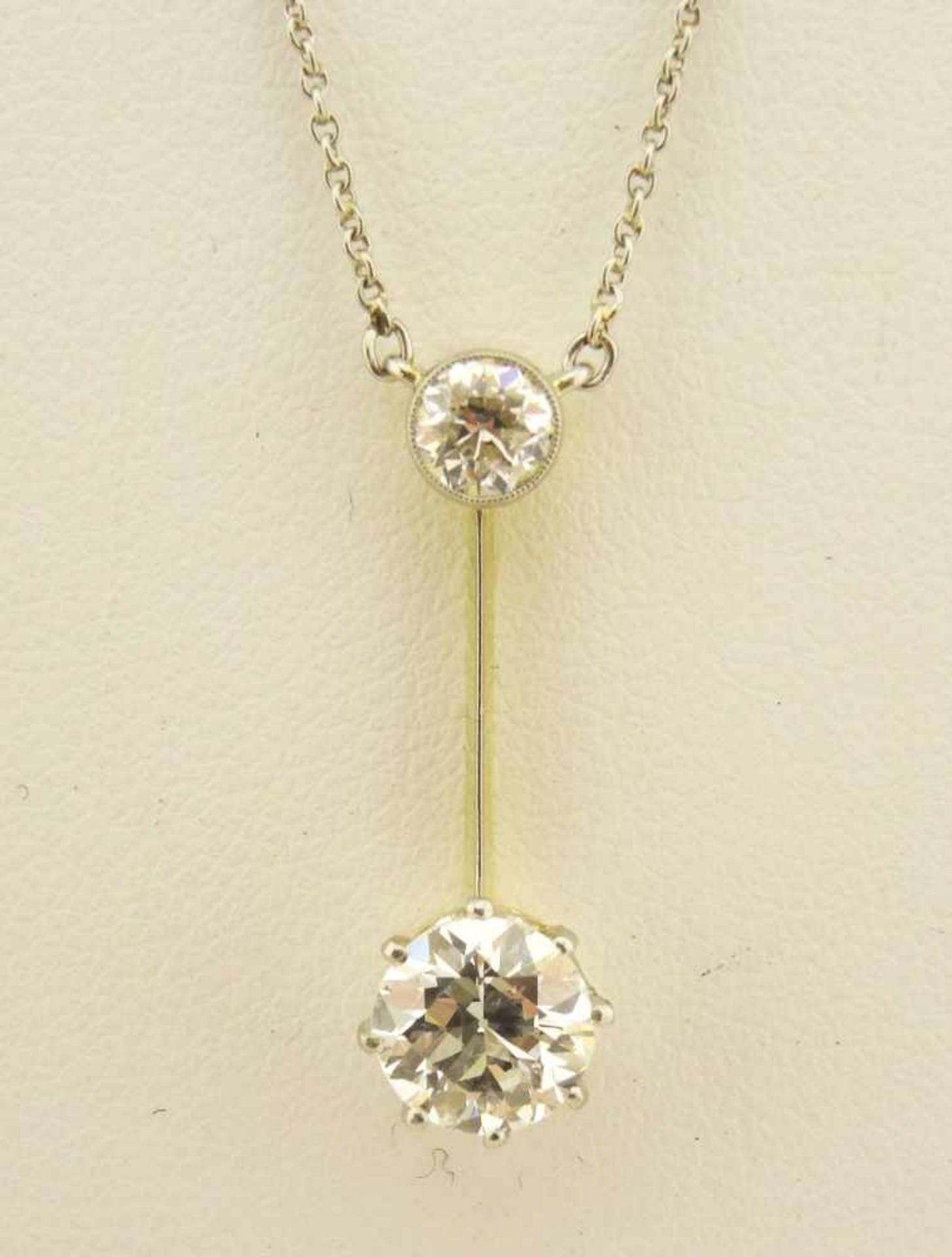 Los 46 - Art Deko Collier Brillant Platin In Platin G-Gold, mit Brillanten ca.1ct w/si und 0,25ct. w/pi,
