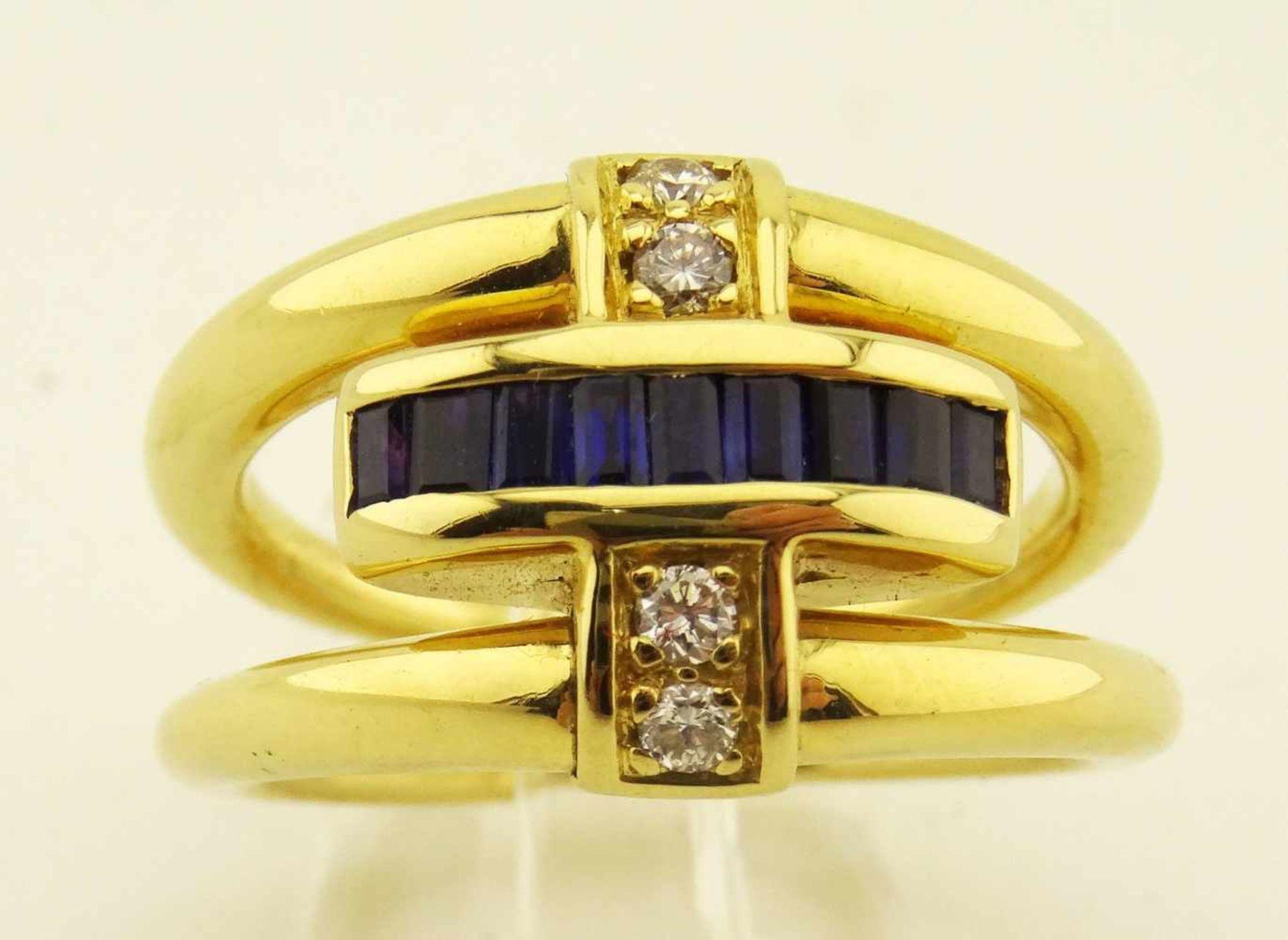 Los 49 - Damenring 750 Gold Wendering ausgefallener Wendering in 750 Gold mit Rubin oder Safir in