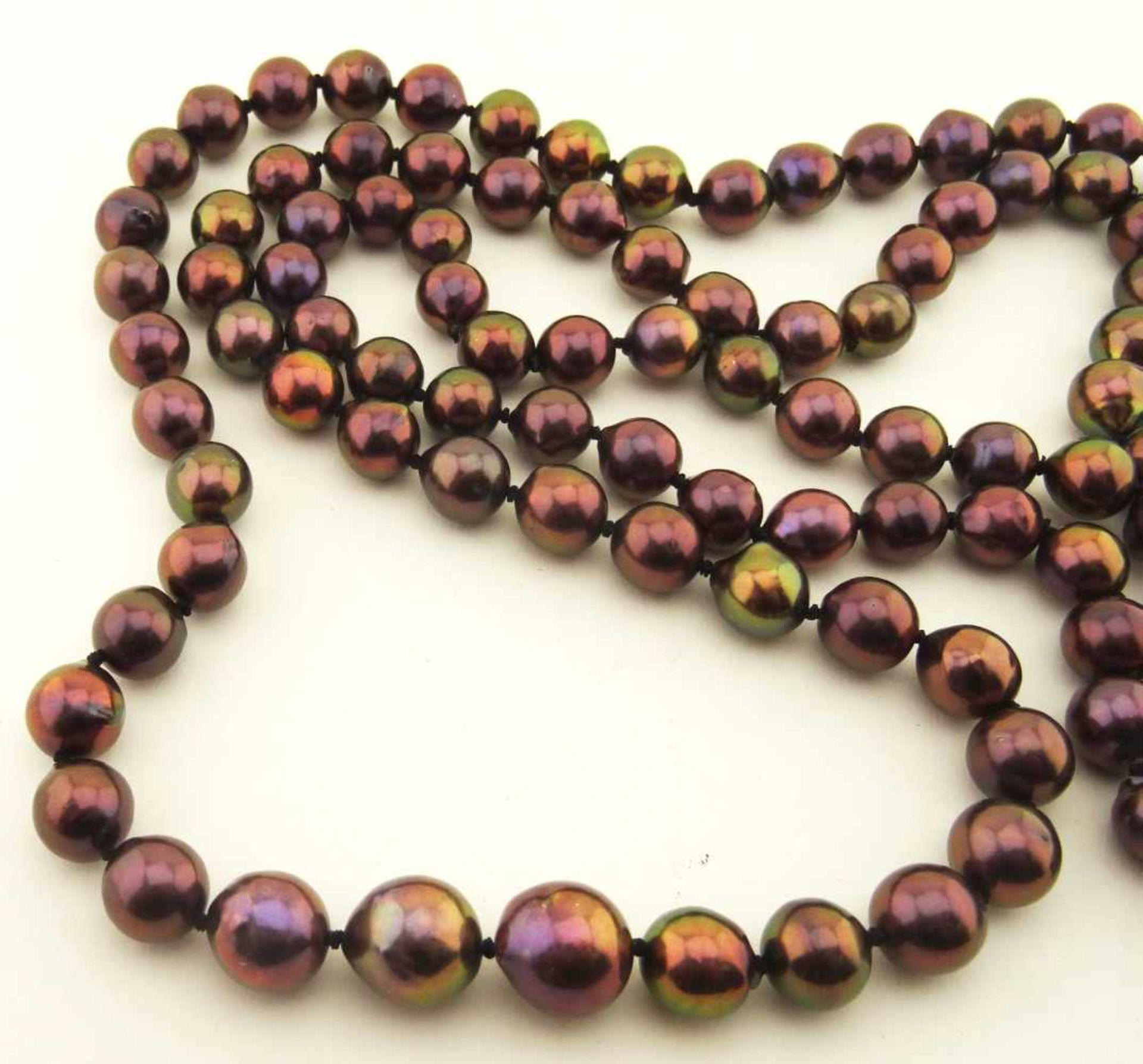 Los 56 - Tahiti- Südseezuchtperle grünlich/pink Collier mit 119 Perlen mit 9,5-11,6mm, endlos aufgezogen, ca.