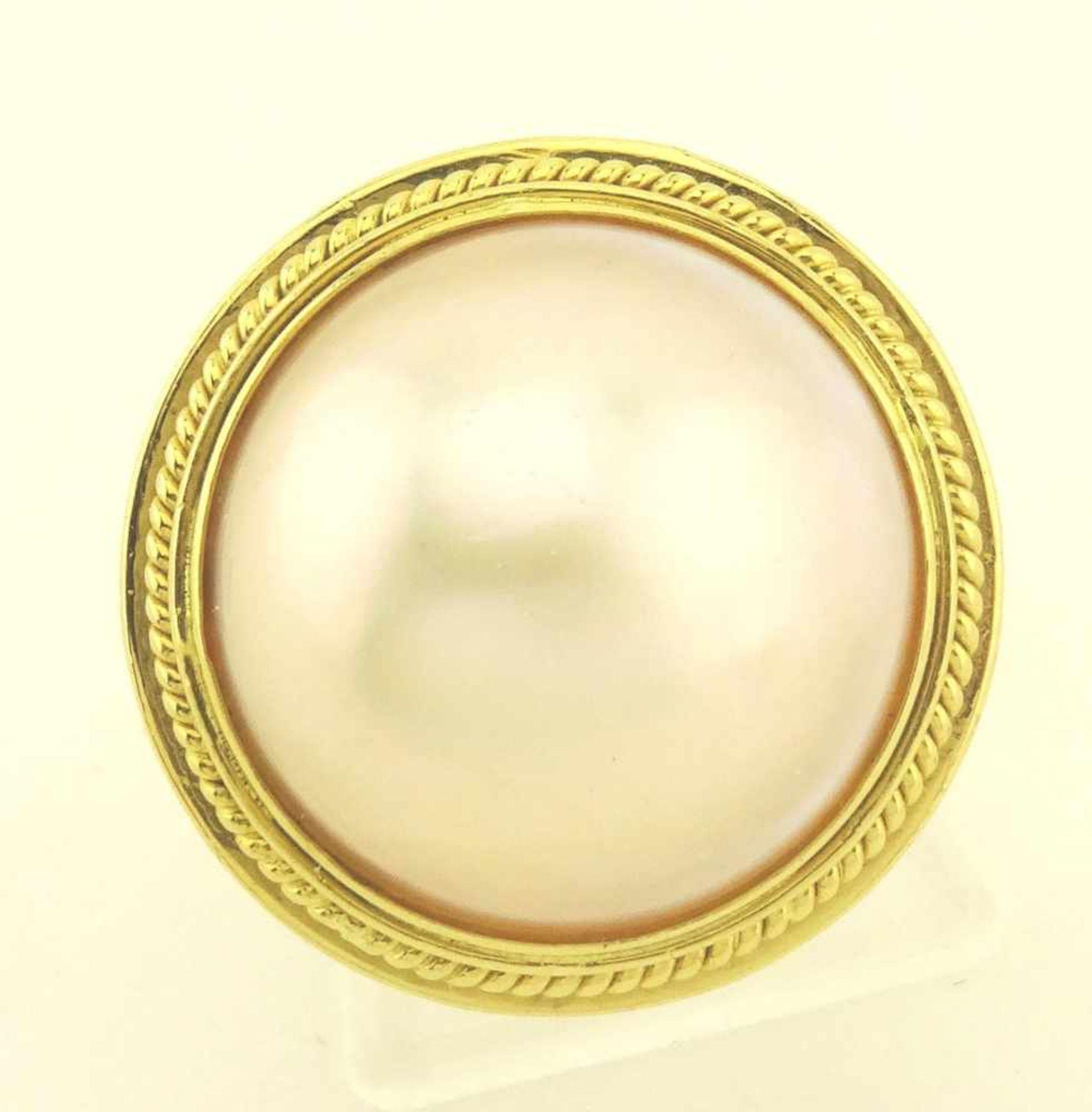 Los 14 - Damenring 750 Gold mit Mabe Perle, Perle ca. 16mm Durchmesser, RG 57, ges. Gewicht ca. 8,9g, sehr