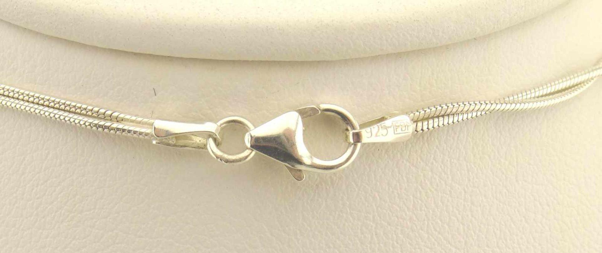 Los 35 - Collier 925 Silber 2-reihig mit 8 SWZP Durchmesser ca. 7mm, Zirkonia in Zargenfassung , Länge ca.