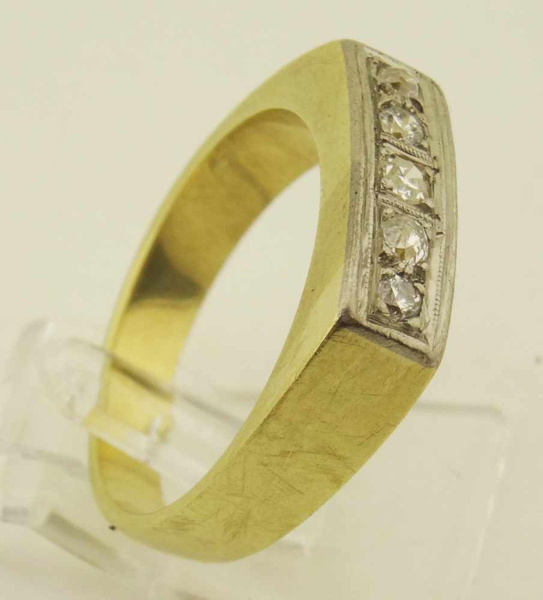 Los 44 - 585 Gold Damenring Brillant 5 Steine Brillant, Diamant auch Altschliff, ges. ca. 0,20ct.,