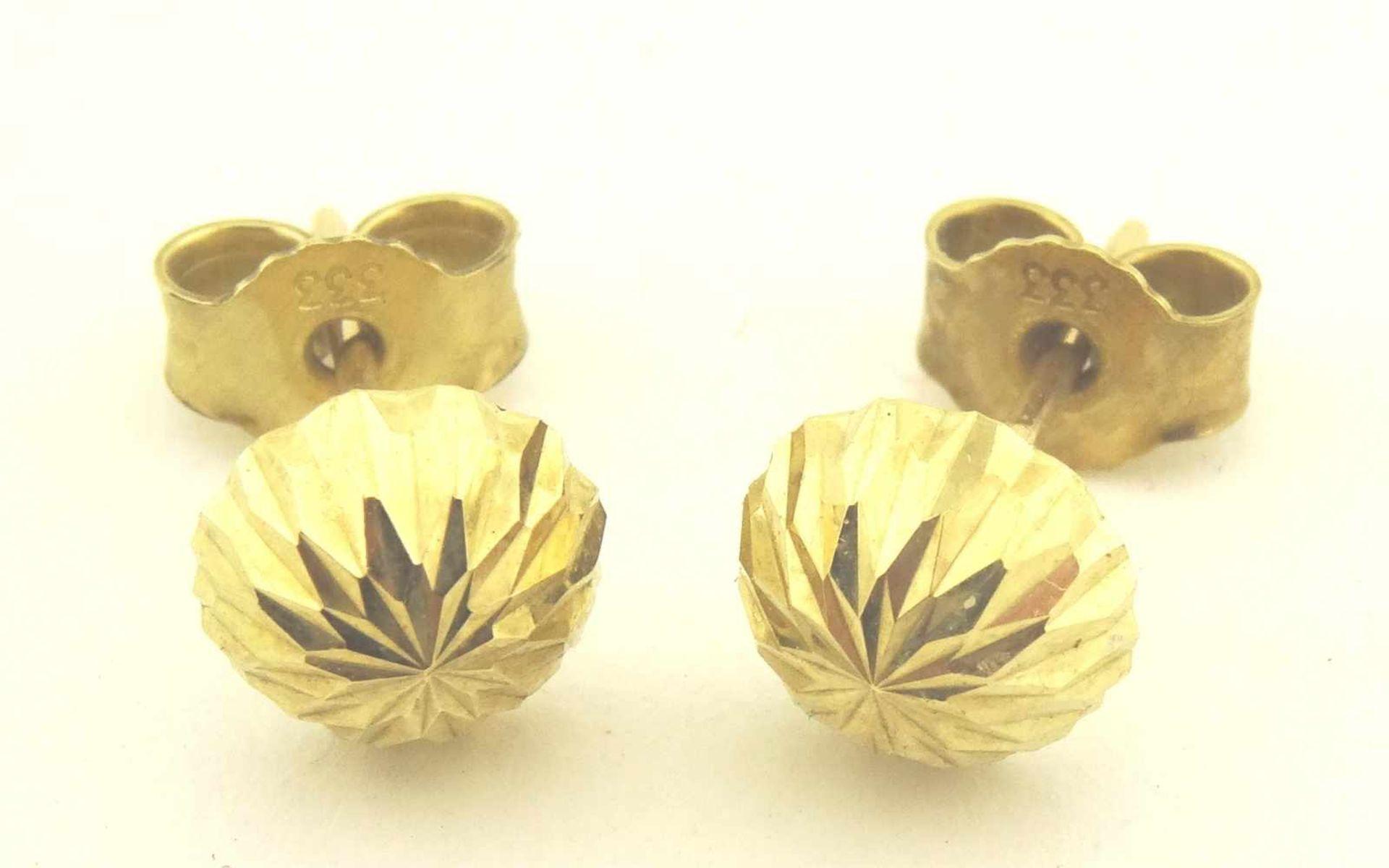 Los 41 - Ohrstecker 333 Gold diamantiert Durchmesser ca. 7mm, verbödet, Gewicht ges. ca. 0,7g