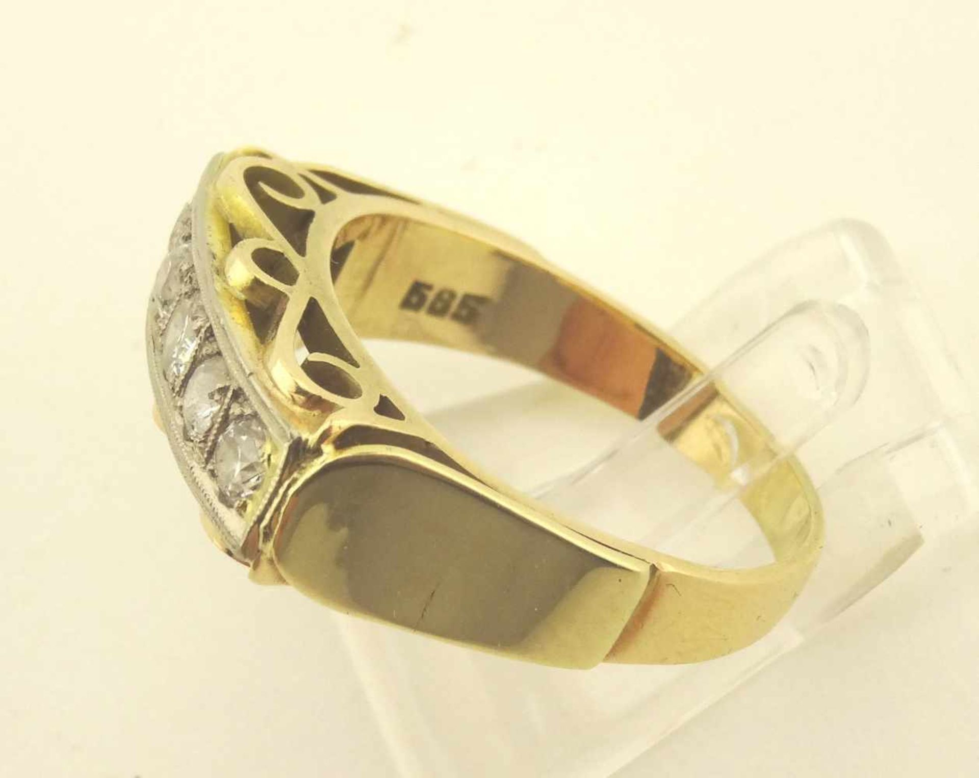 Los 13 - Brillantring 585 Gold 2 farbig mit 5 Brillanten zus. ca. 0,25ct.w/pi 1, RG 55, Gewicht ges. ca. 4,