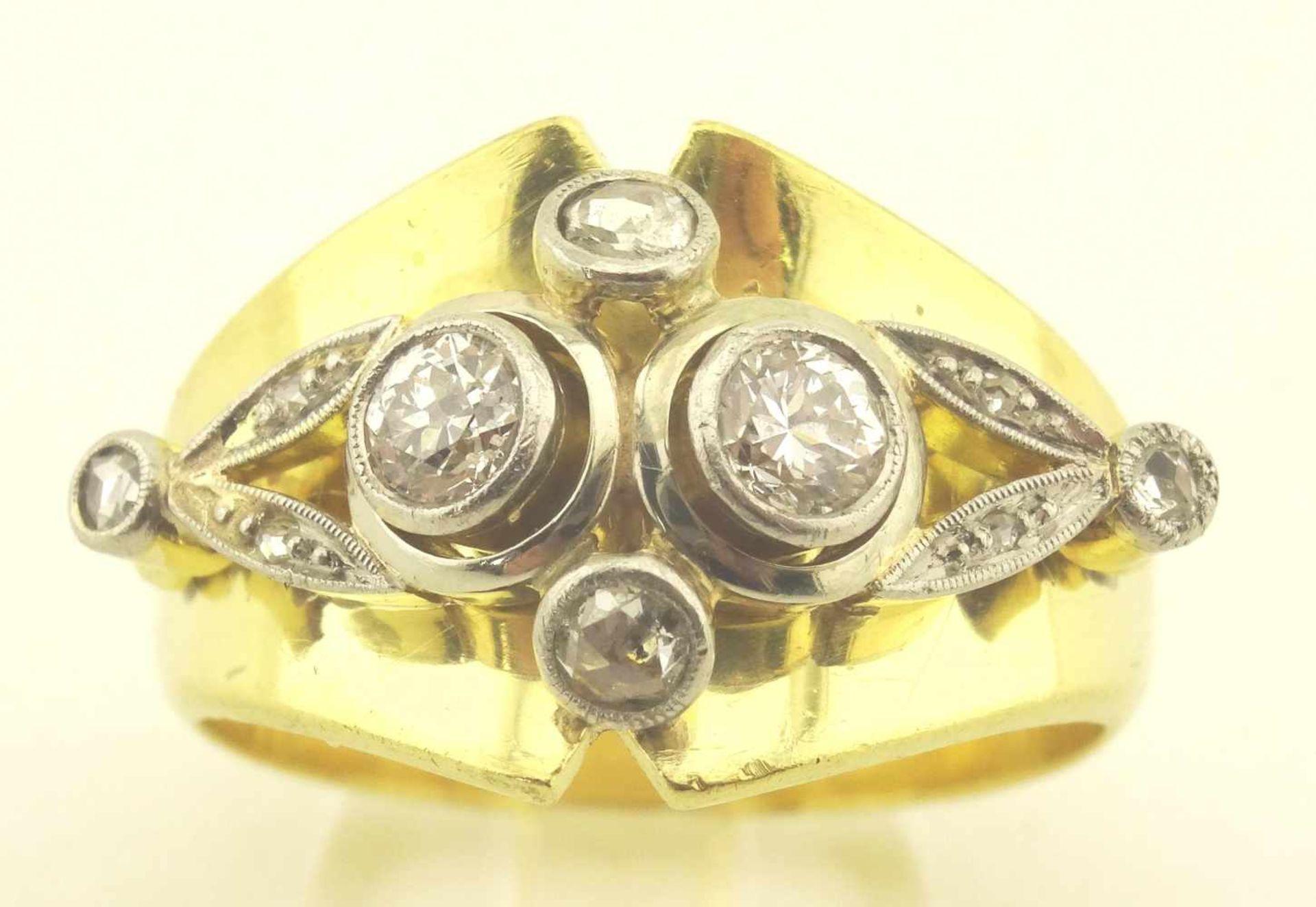 Los 45 - Damenring Brillant 750 / 585 Gold Handarbeit Umarbeitung aus 750 Gold Trauring, mit 585 Aufbauten,