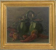 "JULIA M. MINTY. Still life, oil on panel, signed signed ""Mint"" (lower right) and framed, 30 x 33 cm."