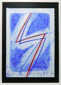 "TAMSCHICK RÜDIGER. Komposition in blau-rot, Serigrafie, signiert und datiert ""Komposition in blau-"
