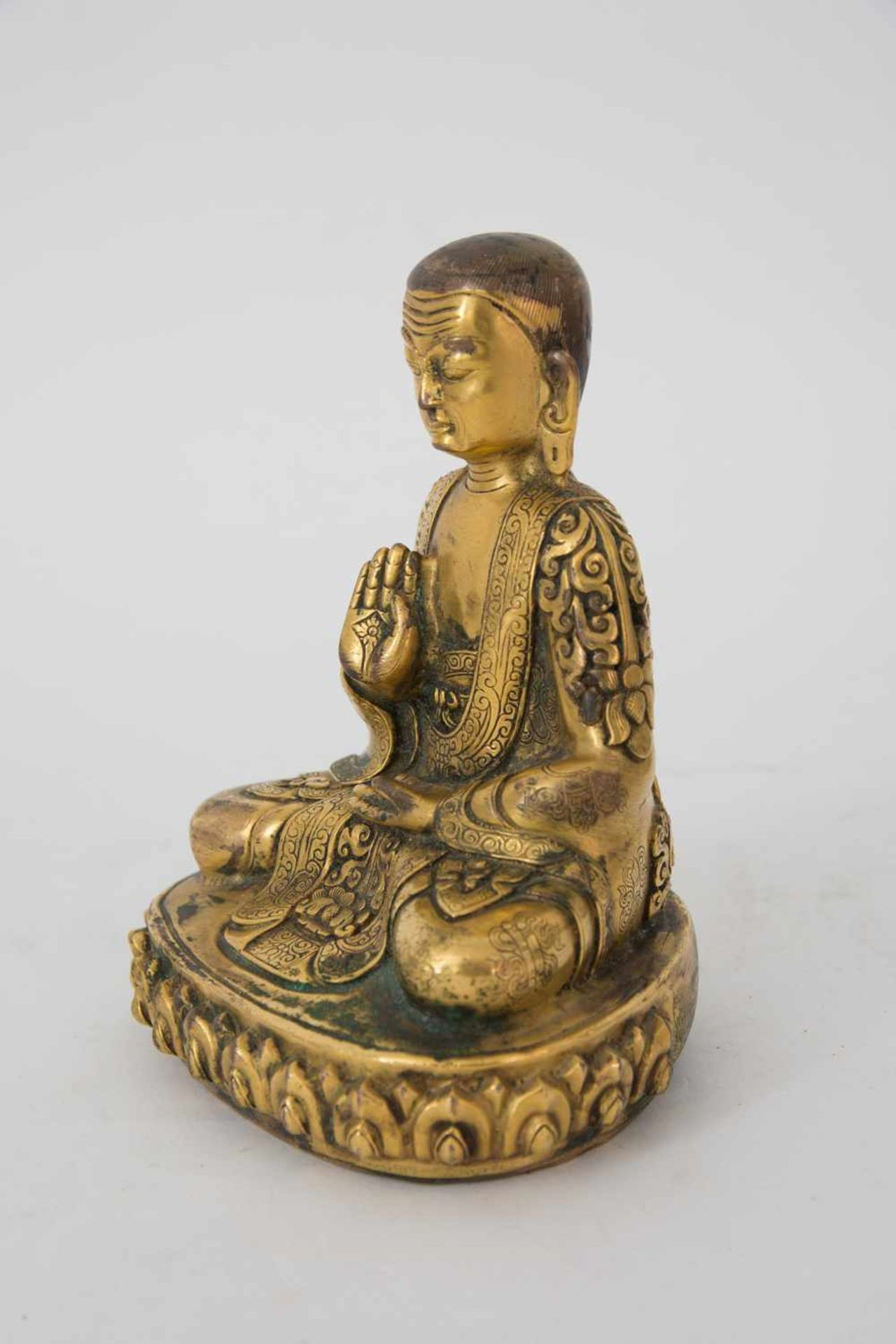 Los 12 - ADIBUDDHA SCULPTURE, firegilt bronze, Central Asia Sculpture finely elaborated, measurements: 12 x