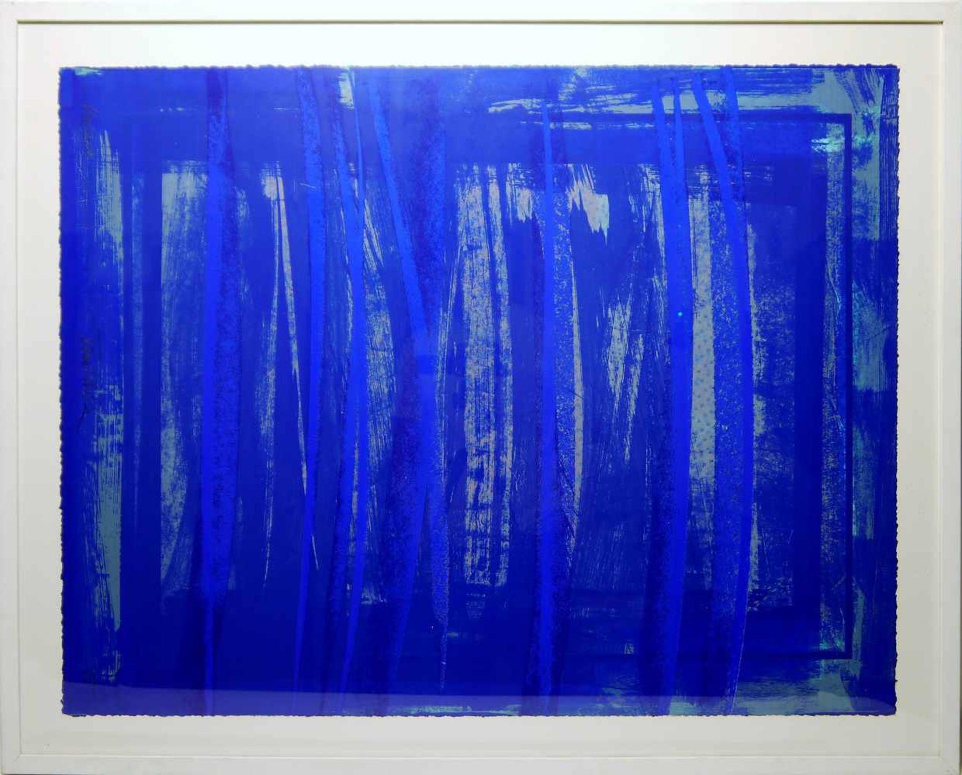 Los 54 - RÜDIGER TAMSCHIK. Komposition in Blau, 20. Jahrhundert, signiert Serigrafie von Rüdiger Tamschik (*