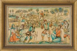 INDIAN MINIATURE PAINTING, decorated with Oriental scene, framed framed, 15 x 22 cm.