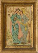 INDIAN MINIATURE PAINTING, polychromatic painted, framed framed, 17 x 12,5 cm.