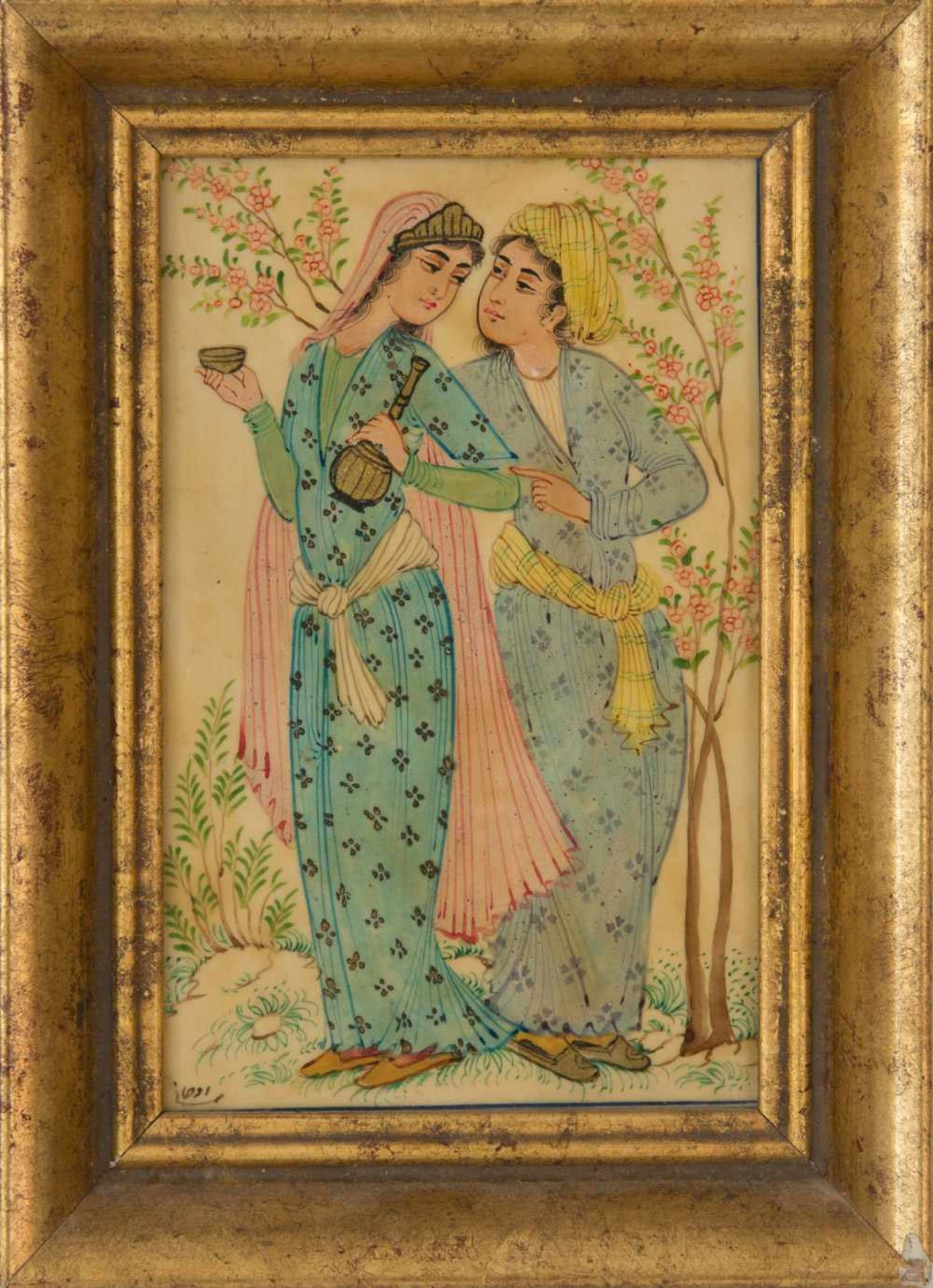 Los 22 - INDIAN MINIATURE PAINTING, polychromatic painted, framed framed, 17 x 12,5 cm.