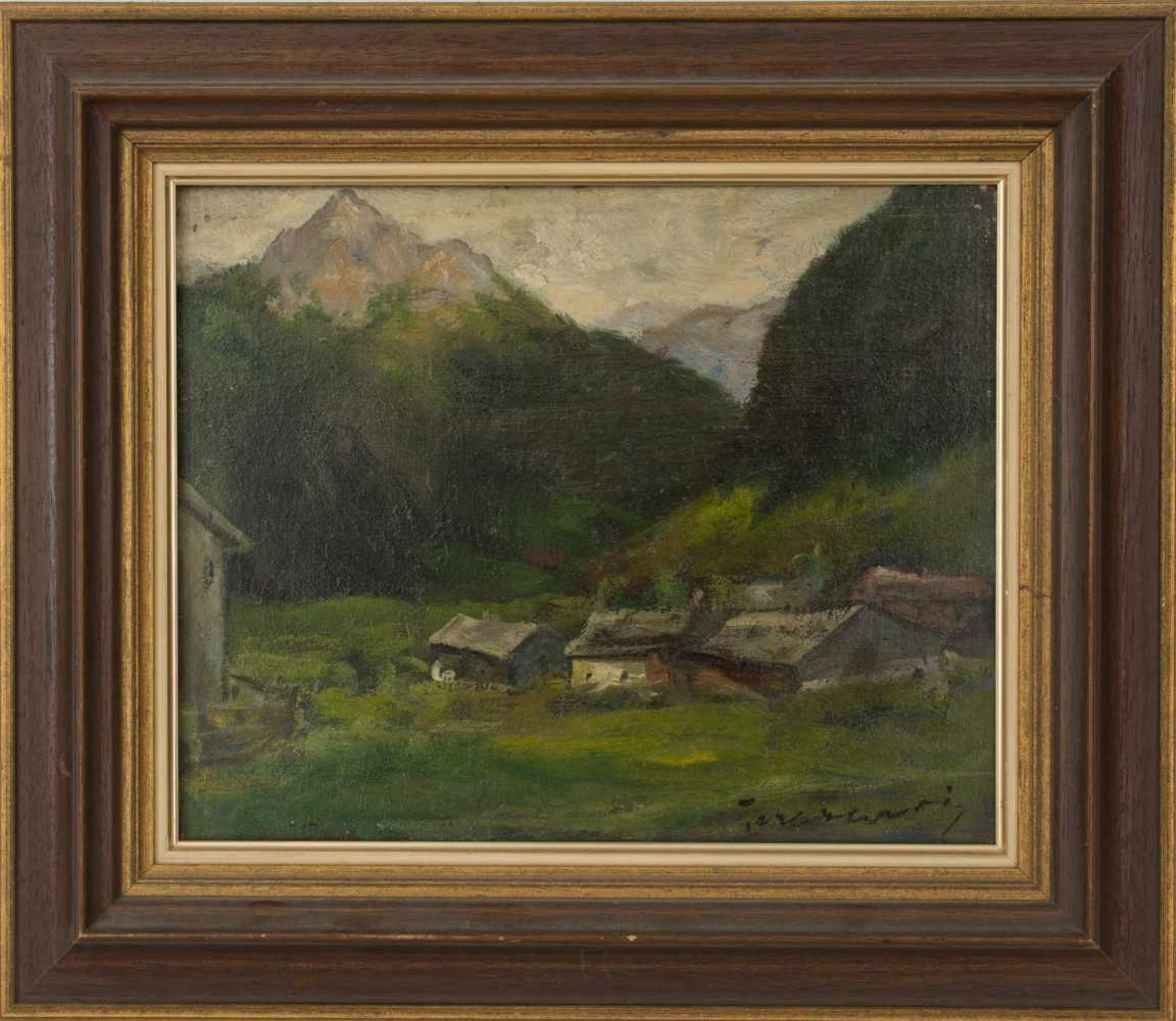 Los 28 - Alpine view, Artist of the 20th century, oil on canvas, signed. signed (lower right) Teronari(?) and