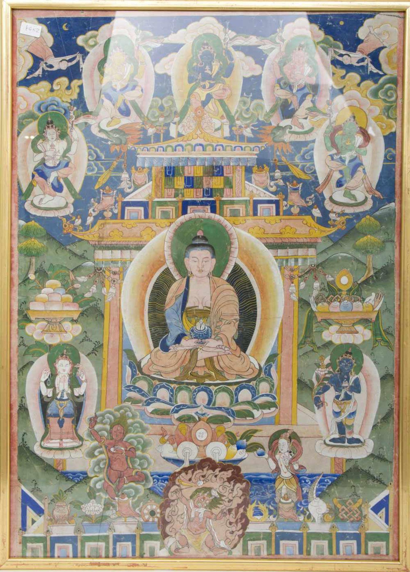 Los 4 - ZWEI THANGKAS, Nepal spätes 19. Jahrhundert Zwei Thangkas (einer gerahmt), Herkunft aus Nepal des