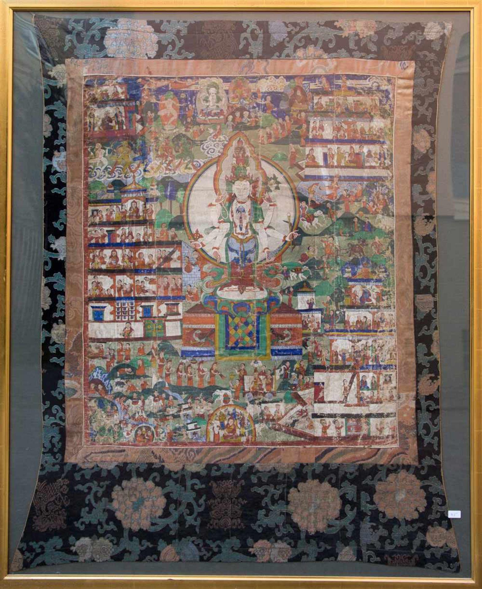 Los 5 - ANTIKER THANGKA, Seide auf Leinen, gerahmt, um 1800. 109 x 86 cm. Guter Erhaltungszustand