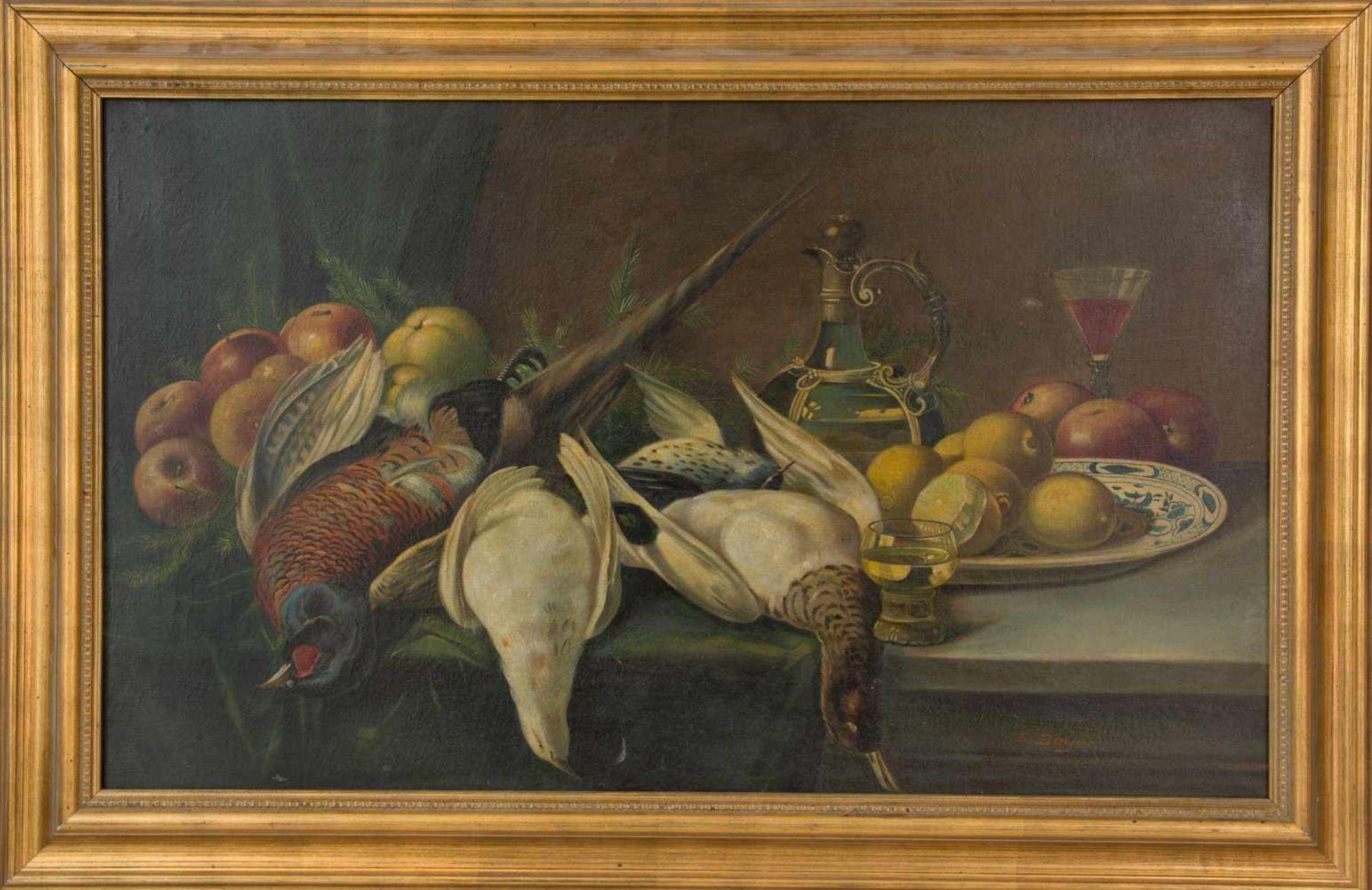 Los 16 - Stilleben, Öl auf Leinwand, signiert und gerahmt. Signiert unten rechts E.Beyer, gerahmt, 110 x 60
