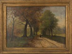 KLAAS HENDRIK VAN DIJK. Country road, oil on canvas, signed and framed Country road, oil on