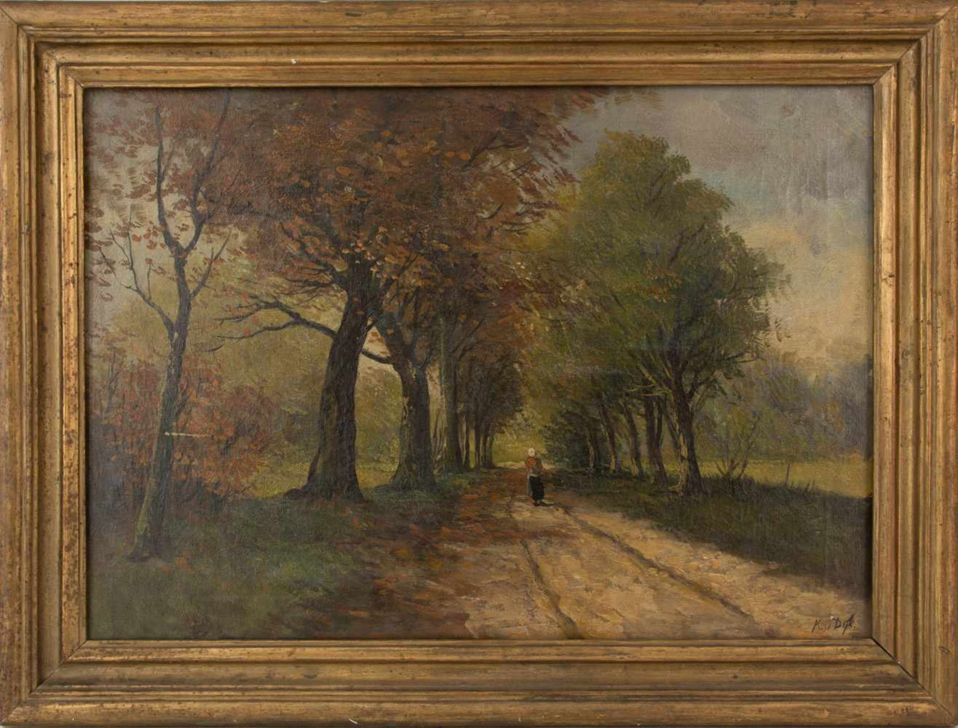 Los 19 - KLAAS HENDRIK VAN DIJK. Country road, oil on canvas, signed and framed Country road, oil on