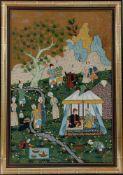 PERSISCHE SEIDENMALEREI, polychrom figural und ornamental bemalter Seidenstoff, hinter Glas