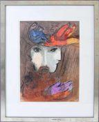 "MARC CHAGALL. ""David und Bathseba"", Original-Farblithographie auf Papier, hinter Glas gerahmt, 1956."