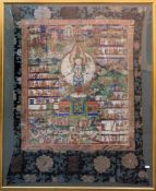 ANTIKER THANGKA, Seide auf Leinen, gerahmt, um 1800 Antiker Thangka, Leinen und Seide, entstanden um