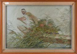 """SEIDENBILD """"CHINESISCHE SOLDATEN IM BOOT"""", Seidenschnüre auf Holz hinter Glas gerahmt, signiert ("""