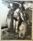 """ARNO RINK, """"Versuchung"""", Kreide-, Feder- & Pinselllithografie auf Büttenpapier, signiert und datiert"""