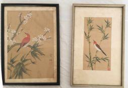 """ZWEI BILDER """"SINGVÖGEL AUF BAMBUS"""", Seidenmalerei auf Chinapapier, China 1930er-Jahre Maße: 35 x"""