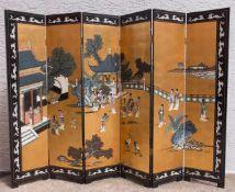 JAPANISCHER PARAVANT, bemaltes und lackiertes Holz mit BlattgoldJapan erste Hälfte 20. Jahrhundert