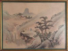 """""""CHINESISCHE LANDSCHAFT 2"""", Seidenmalerei, China frühes 20. Jahrhundert Dargestellt sind zwei"""