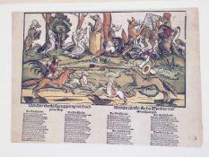 """FLUGBLÄTTER DER REFORMATION UND DES BAUERNKRIEGES"", 50 teils kolorierte Blätter in Mappe,DDR 1975"