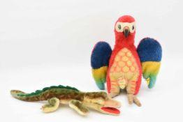 """STEIFF. Konvolut """"Exotische Tiere"""", Wolle/Baumwolle, Knopffahne und Steiffmarke, Deutschland,"""