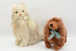 """STEIFF. Konvolut """"Haustiere"""",Wolle/Baumwolle Deutschland um 1975 Zwei heimische Haustiere: Dackel ("""