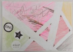 """JULIUS VON BRÜHL,""""EINS 2 vier"""", Mischtechnik auf Papier, signiert, 2017 Vorderseitig mit Bleistift"""