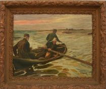 """UNBEKANNTER KÜNSTLER,""""Die Fischer"""", Öl auf Leinwand, gerahmt, 1. Viertel 20. Jahrhundert Rechts"""