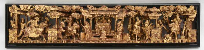 WANDBILD, handgeschnitzt, Holz/Rotlack/Blattgold, China um 1900 Chinesisches Wandbild mit