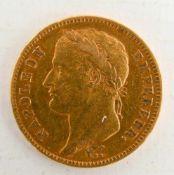 GOLDMÜNZE, 40 Francs Napoleon Empereur, France / Frankreich 40 Francs 1812 A Material: Gold Gewicht: