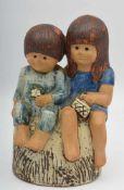 """LISA LARSON GUSTAVSBERG, """"Geschwister"""", bemalter und glasierter Ton, gemarkt, Schweden 1970er-"""