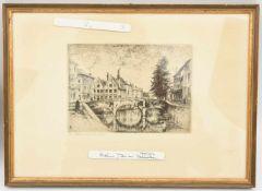 """PETER VON HALM,""""Brücke in der Altdstadt"""", monochrome Radierung auf Papier , hinter Glas gerahmt"""