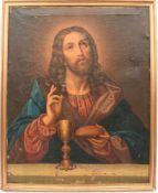 """ALTARBILD """"Christus, Brot und Wein segnend"""", Öl(druck) auf Leinwand, gerahmt, Italien um 1920"""