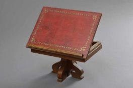 1 Eichen Buchpult mit rotem Leder, geprägt, 25-45cmx40x30cm