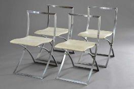 4 Design Klappstühle mit Alugestell und Stoffsitz, H. 80/48cm