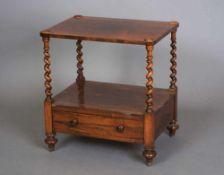 Walnuss Nachttisch mit gedrechselten Beinen und 1 Schublade, 57x54x40cm, Platte gerissen