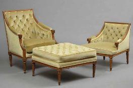 3 Teile klassizistische Eichen Sitzmöbel in strenger Form mit kannelierten Beinen: 2 Sessel mit