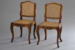 Paar Barock Stühle mit geschnitztem Gestell und Geflecht, Nussbaum, H. 90,5/46,5cm