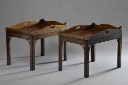 Paar englische Mahagoni Butlers Trays mit ergänztem Tischgestellen, 58x76x51cm